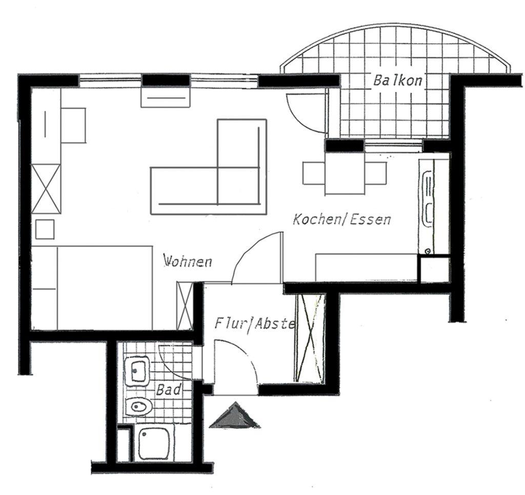 Grundriss möbliertes Appartement Wiesbaden